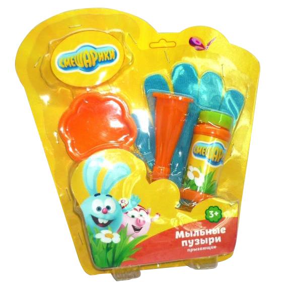 Купить Набор для пускания мыльных пузырей из серии Смешарики: прыгунцы, перчатка, жидкость 50 мл., Играем вместе