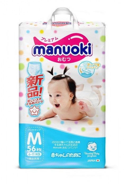 Купить Трусики-подгузники Manuoki, размер M, 6-11 кг, 56 шт.