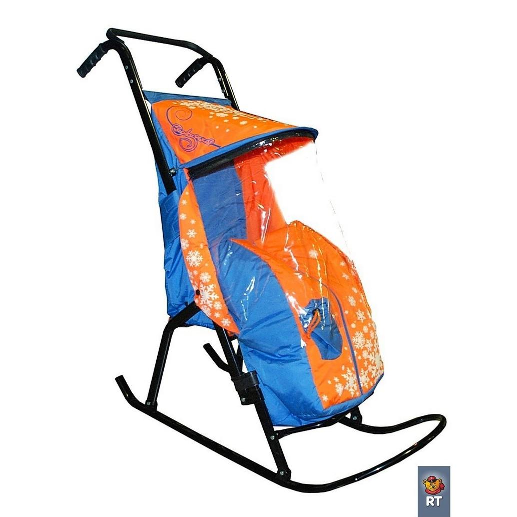 Купить Санки-коляска Снегурочка 2-Р1 – Снежинки, голубой-оранжевый, RT