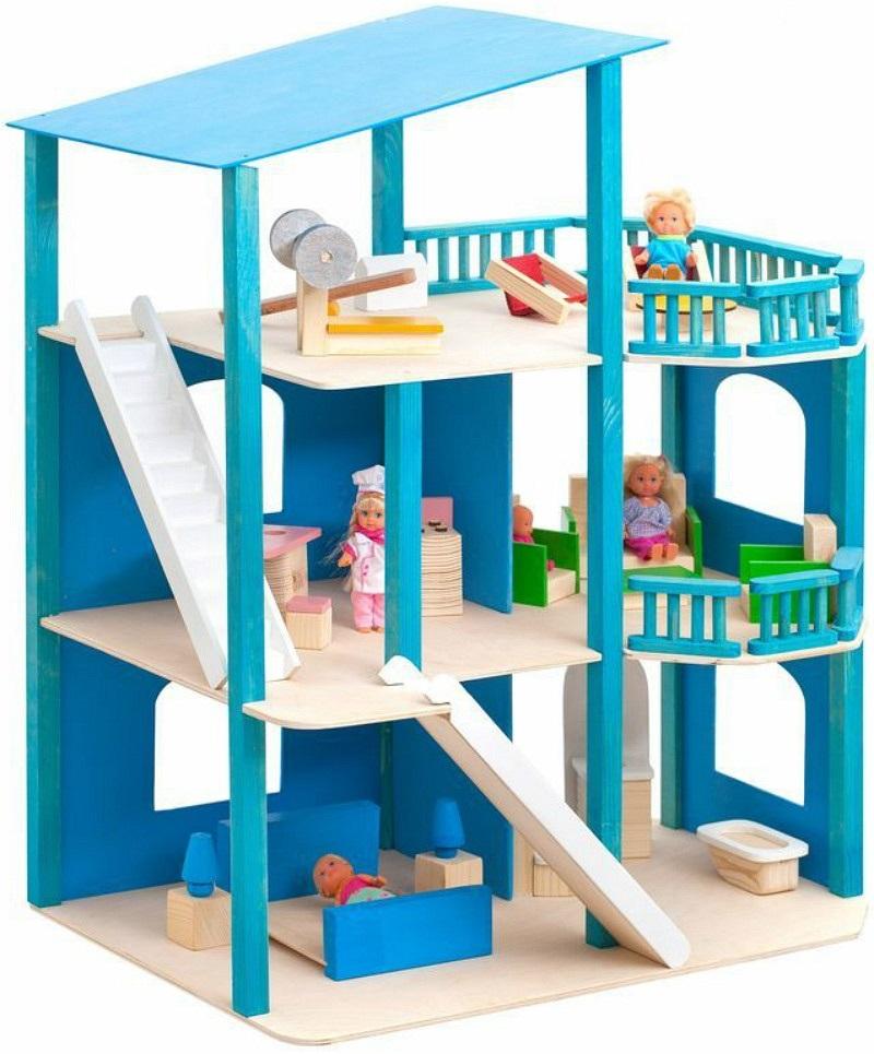 Кукольный домик - Лазурный берег, с мебелью 21 предметКукольные домики<br>Кукольный домик - Лазурный берег, с мебелью 21 предмет<br>