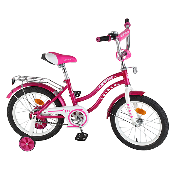 Детский велосипед – Mustang, 16, KY-тип, розово-белыйВелосипеды детские<br>Детский велосипед – Mustang, 16, KY-тип, розово-белый<br>