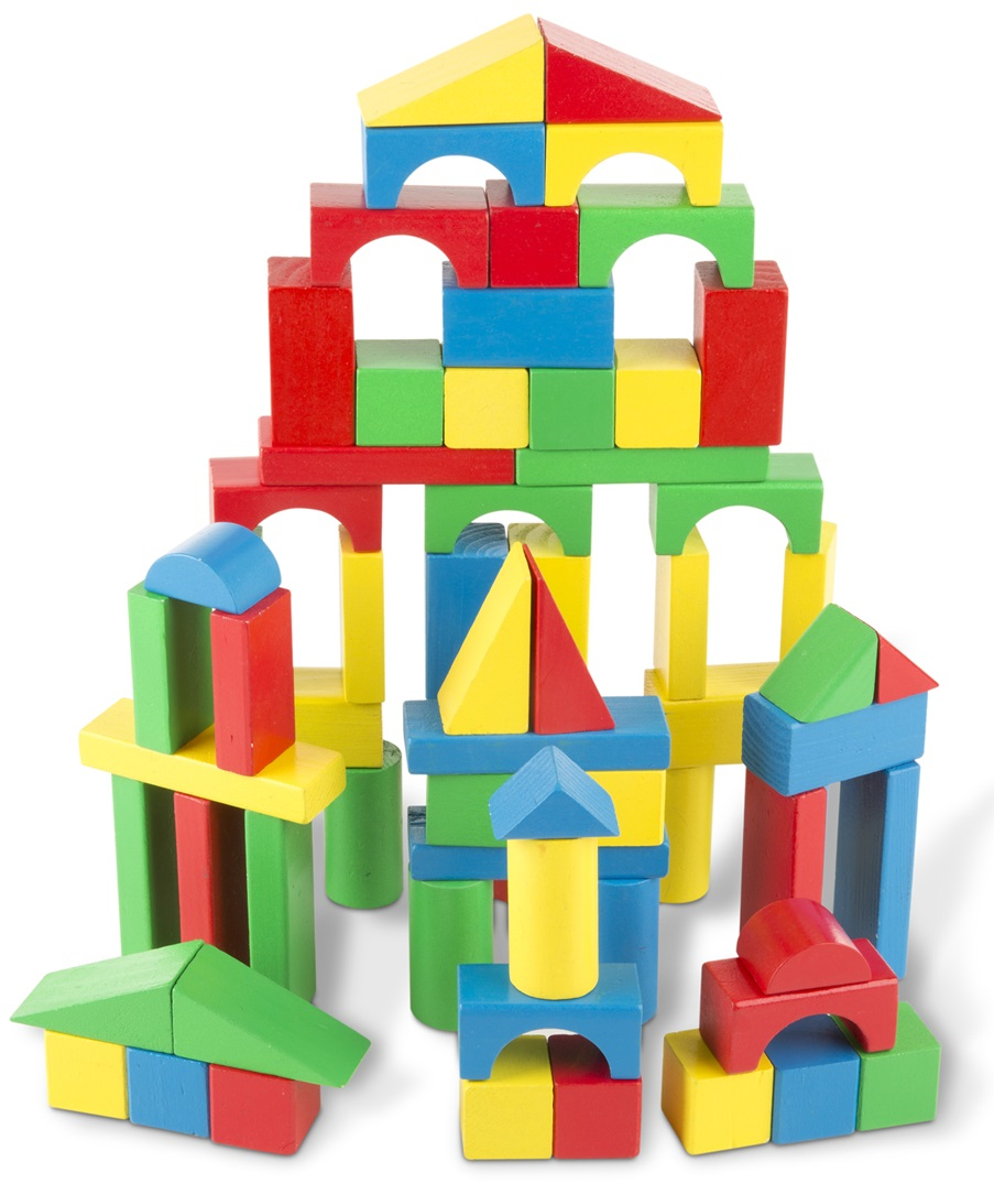 Набор цветных блоков, 100 деталейДеревянный конструктор<br>Набор цветных блоков, 100 деталей<br>