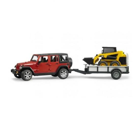 Внедорожник Bruder Jeep Wrangler Unlimited Rubicon c прицепом-платформойФургоны и машины<br>Внедорожник Bruder Jeep Wrangler Unlimited Rubicon c прицепом-платформой<br>