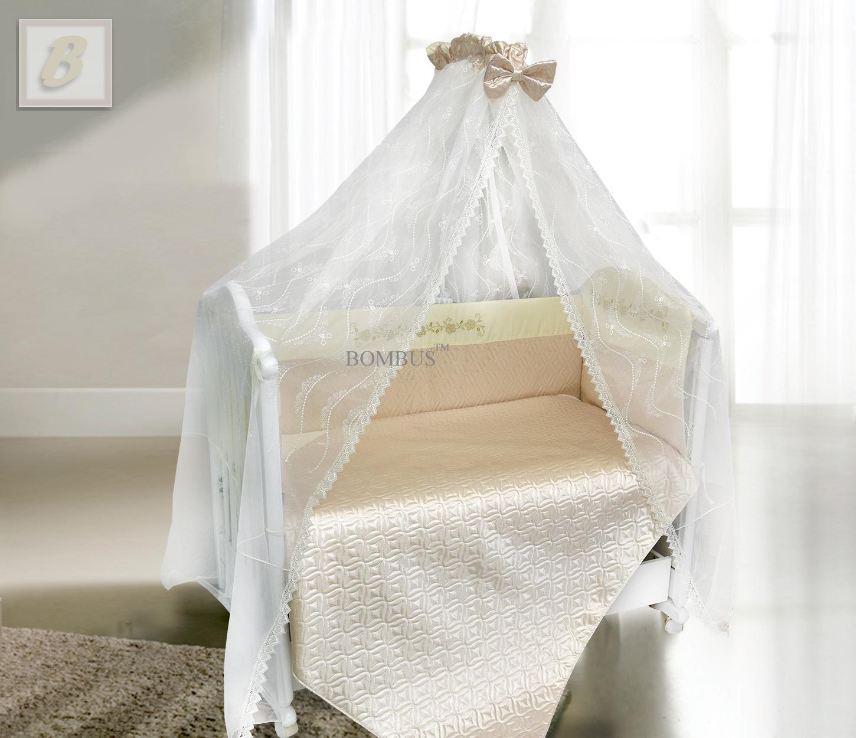 Комплект в кроватку - Мила, сатин, 6 предметов, бежевыйДетское постельное белье<br>Комплект в кроватку - Мила, сатин, 6 предметов, бежевый<br>