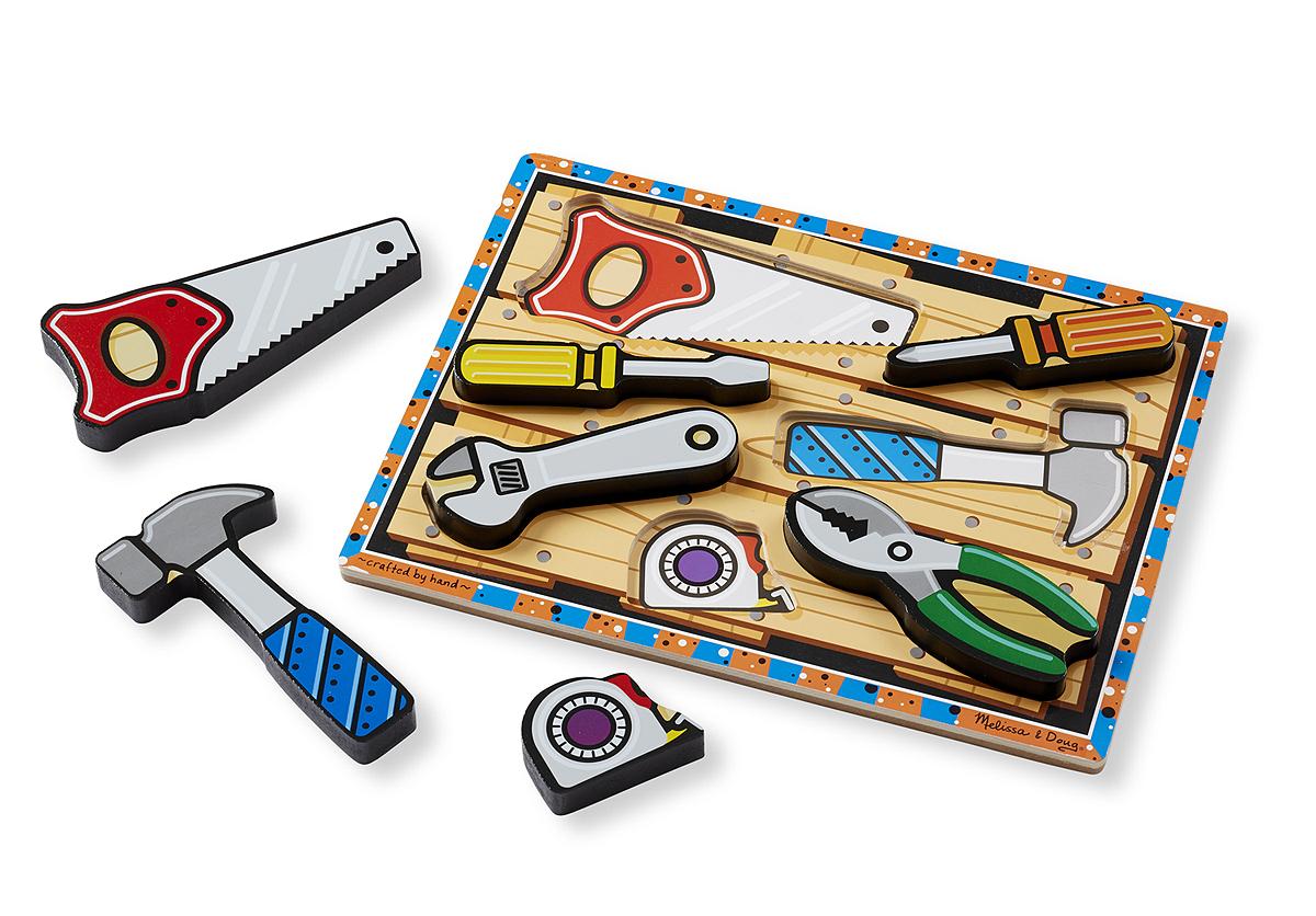 Купить Мои первые пазлы – Инструменты, 7 объемных элементов, Melissa&Doug