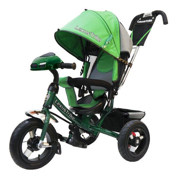 Велосипед 3-колесный зеленый, с резиновыми надувными колесами 12 и 10 дюймов, регулируемая спинка, задний тормоз, светомузыкальная панельВелосипеды детские<br>Велосипед 3-колесный зеленый, с резиновыми надувными колесами 12 и 10 дюймов, регулируемая спинка, задний тормоз, светомузыкальная панель<br>