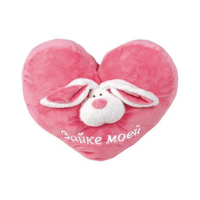 Подушка-сердечко  Зайке моей, розовая - Разное, артикул: 167263