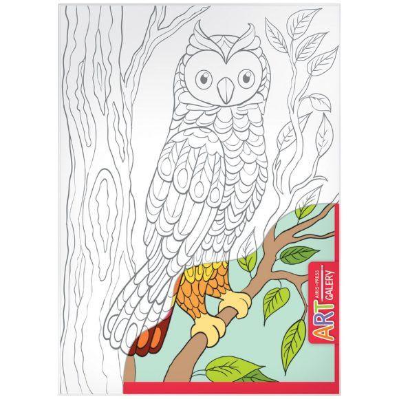 Раскраска на бумажном холсте из серии Арт Галерея средняя – СоваРоспись по холсту<br>Раскраска на бумажном холсте из серии Арт Галерея средняя – Сова<br>