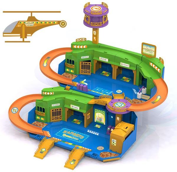Гараж – КарапузТрансАвто с вертолетом - Детские парковки и гаражи, артикул: 165500