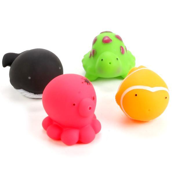 Набор игрушек для ванной - Водные обитатели, 4 фигурки в сеткеРезиновые игрушки<br>Набор игрушек для ванной - Водные обитатели, 4 фигурки в сетке<br>