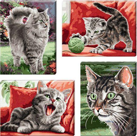 Бархатные лапки, 4 картины, 18 х 24 смРаскраски по номерам Schipper<br><br>
