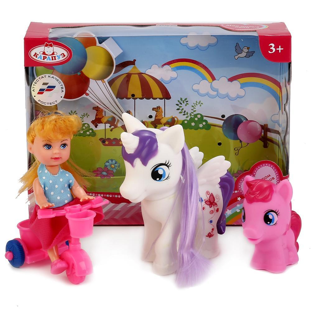 Купить Кукла Машенька 12 см. на велосипеде, с двумя пони, Карапуз