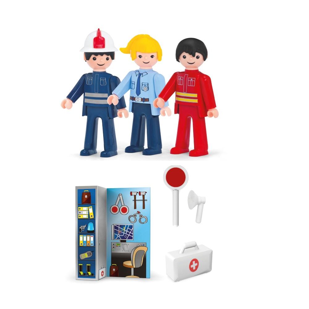 Купить Игровой набор - Служба спасения, 3 фигурки 8 см. и аксессуары, Efko