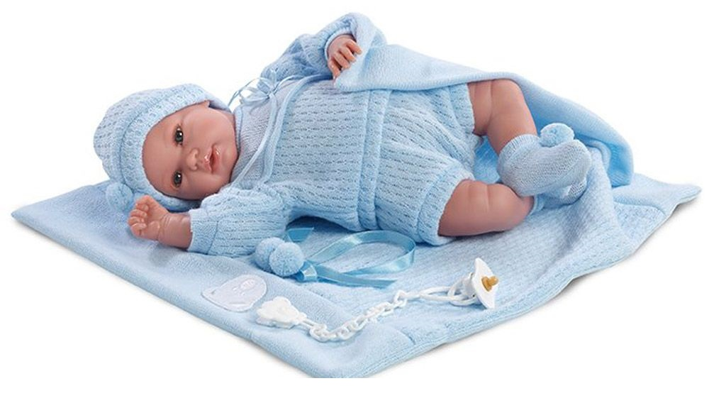 Кукла младенец в голубом костюмчике, 36 см.Испанские куклы Llorens Juan, S.L.<br>Кукла младенец в голубом костюмчике, 36 см.<br>