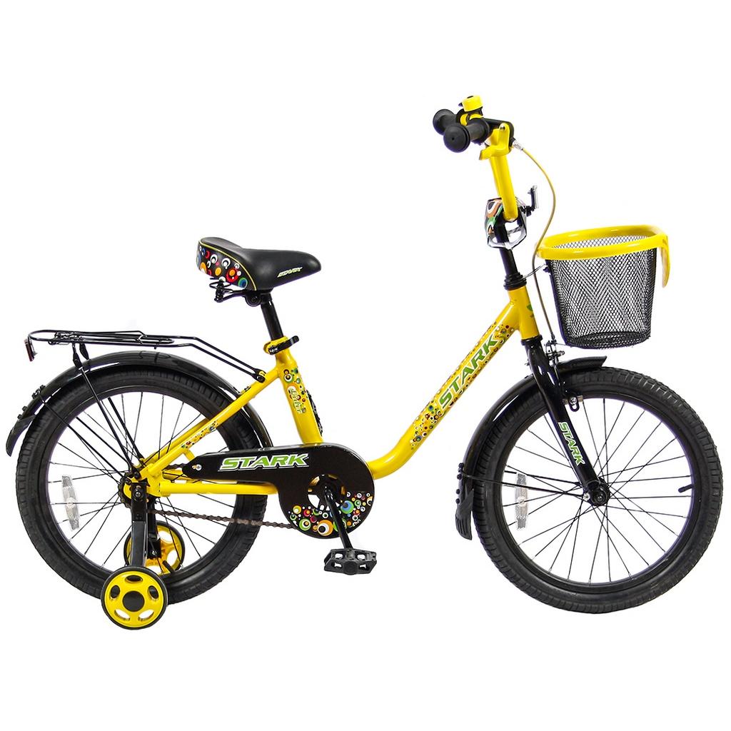 Двухколесный велосипед Lider Stark, диаметр колес 18 дюймов, желтый/черныйВелосипеды детские<br>Двухколесный велосипед Lider Stark, диаметр колес 18 дюймов, желтый/черный<br>
