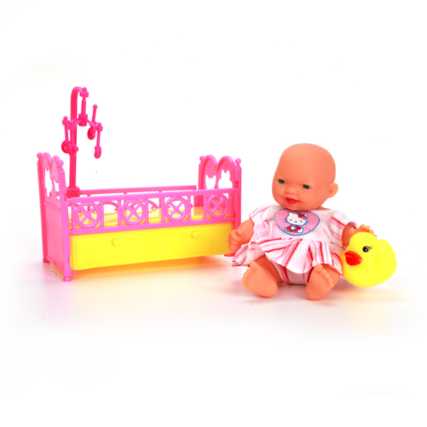 Пупс в кроватке с аксессуарами Hello Kitty, 10 см, бело-желтая одеждаКуклы Карапуз<br>Пупс в кроватке с аксессуарами Hello Kitty, 10 см, бело-желтая одежда<br>