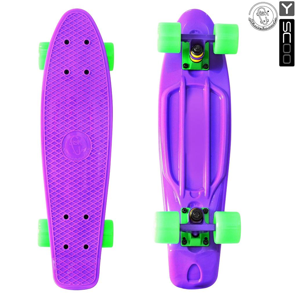 Скейтборд виниловый Y-Scoo Fishskateboard 22 401-Pr с сумкой, фиолетово-зеленыйДетские скейтборды<br>Скейтборд виниловый Y-Scoo Fishskateboard 22 401-Pr с сумкой, фиолетово-зеленый<br>