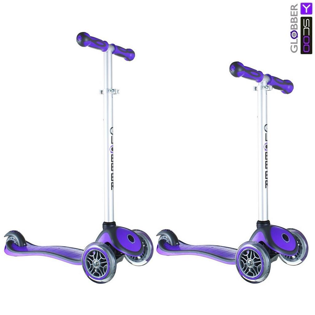 Самокат Y-Scoo RT Globber My Free New Technology с блокировкой колес, фиолетовый