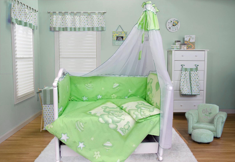 Комплект в кроватку - Топтышка, 7 предметов, зеленыйДетское постельное белье<br>Комплект в кроватку - Топтышка, 7 предметов, зеленый<br>