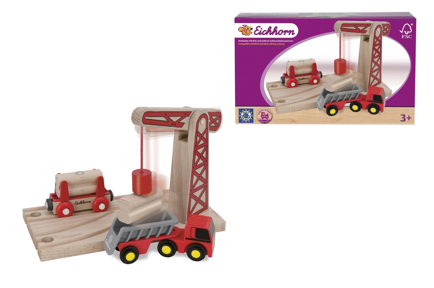 Игровой набор для деревянной железной дороги с краном, 6 деталейДетская железная дорога<br>Игровой набор для деревянной железной дороги с краном, 6 деталей<br>