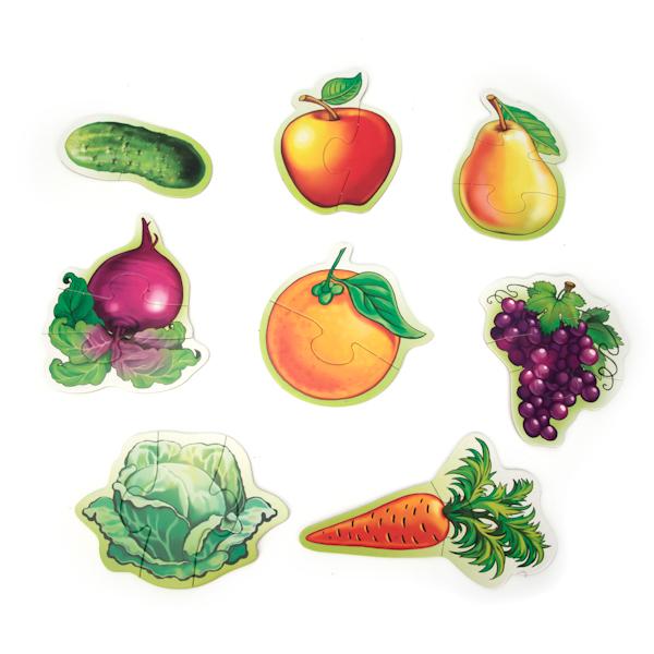 Фото #1: Макси-пазлы - Фрукты и овощи, 8 развивающих картинок