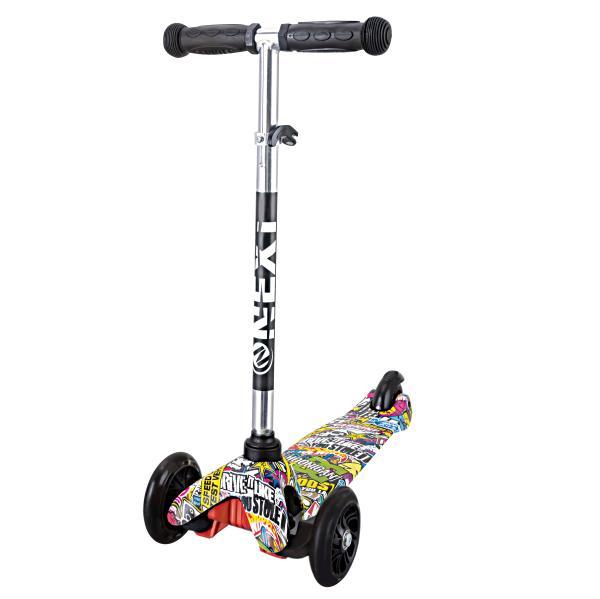 Купить Самокат 3-х колесный складной - Next, черный, управление наклоном, со светящимися PU колесами