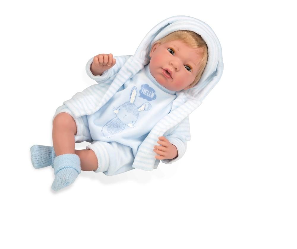 Интерактивная кукла из коллекции Elegance – Пупс, 38 см, с мягким телом, с закрывающимися глазами, в голубой одежде с изображением зайчика и соской, плачет