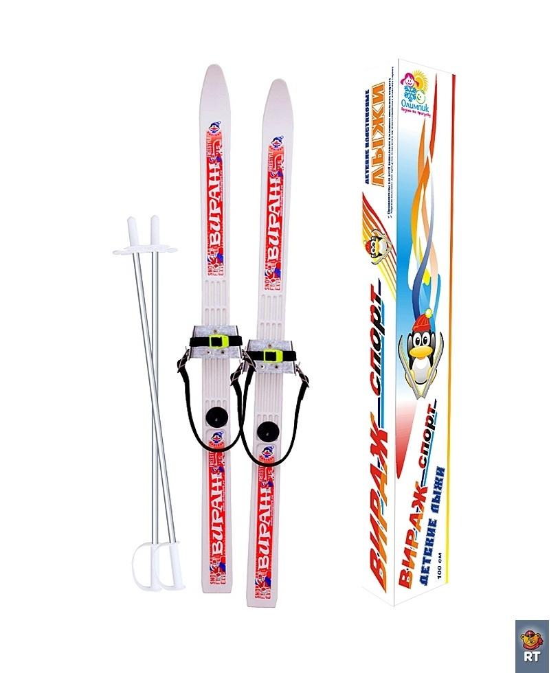 Купить Лыжи детские – Пингвин - Вираж-спорт с палками, белый, RT