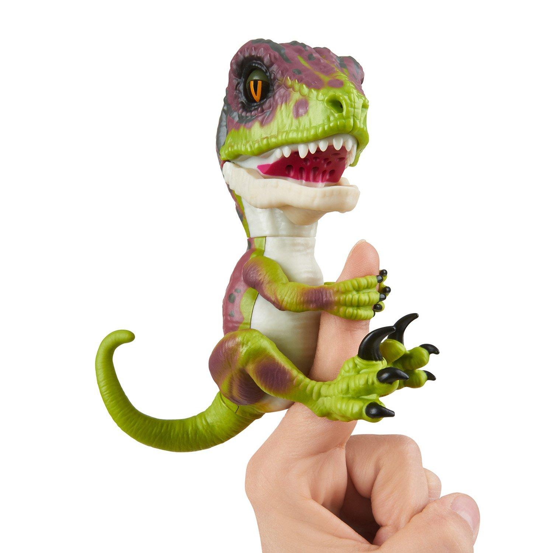 Купить Интерактивный динозавр Fingerlings – Стелс, зеленый с фиолетовым, 12 см, звук, WowWee