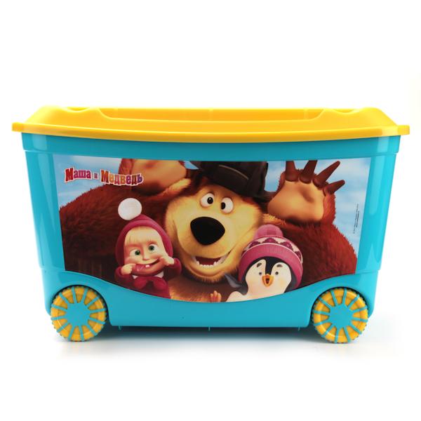 Ящик для игрушек на колесах с аппликацией Маша и Медведь, голубойКорзины для игрушек<br>Ящик для игрушек на колесах с аппликацией Маша и Медведь, голубой<br>