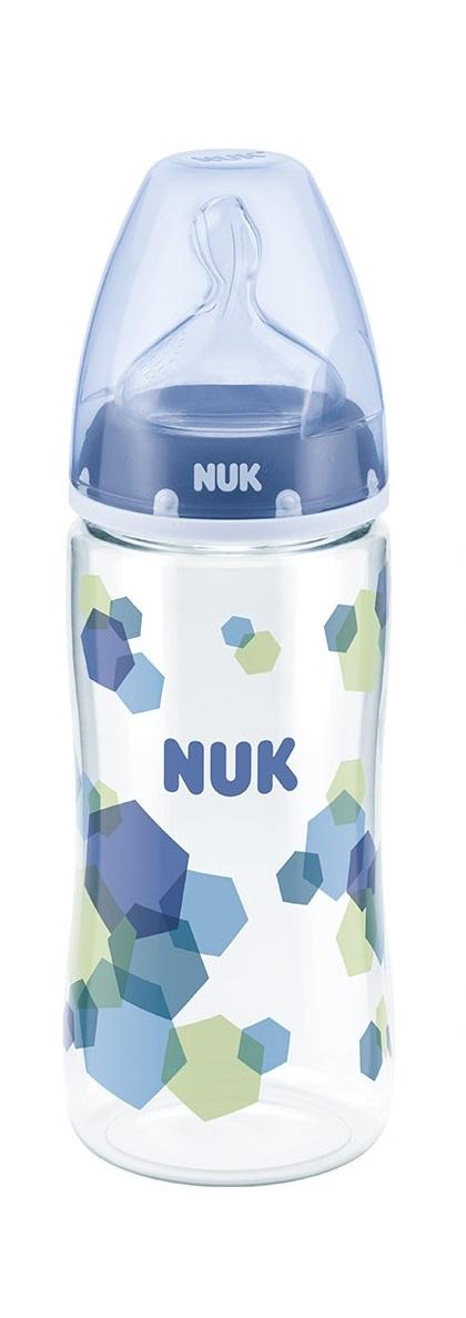 Купить Бутылочка из полипропилена First Choice Plus, 300 мл, с силиконовой соской, размер 1, М, синий геометрический рисунок, Nuk
