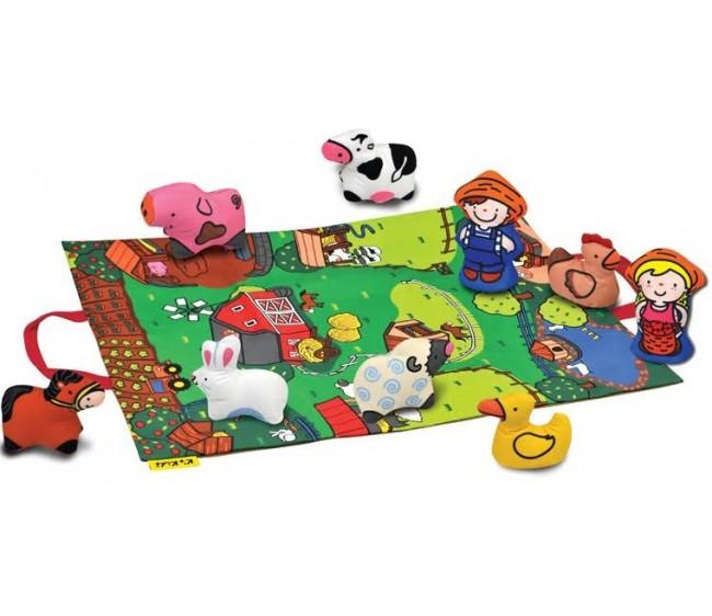 Игровой набор с ковриком и фигурками - Мини фермаИгровые наборы Зоопарк, Ферма<br>Игровой набор с ковриком и фигурками - Мини ферма<br>