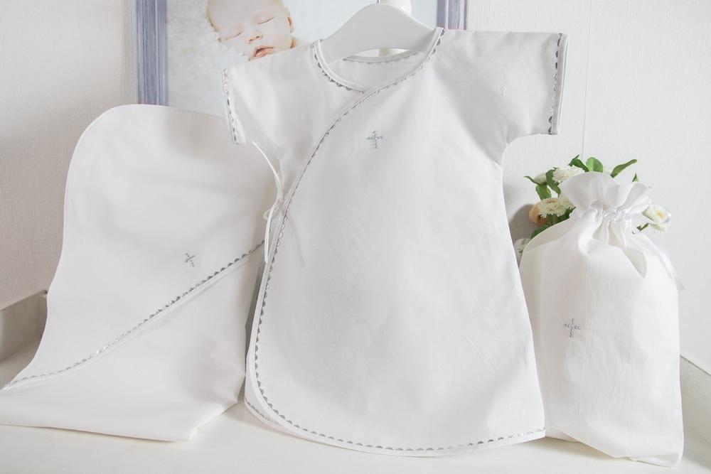 Крестильный набор для мальчика Павел – 3 предмета- белый/серебро