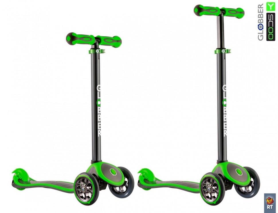 Купить Самокат RT GLOBBER My free Titanium neon green с блокировкой колес