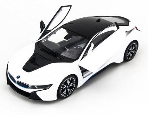 картинка Машина на радиоуправлении BMW i8, вручную открывающиеся двери, цвет белый, 1:14 от магазина Bebikam.ru