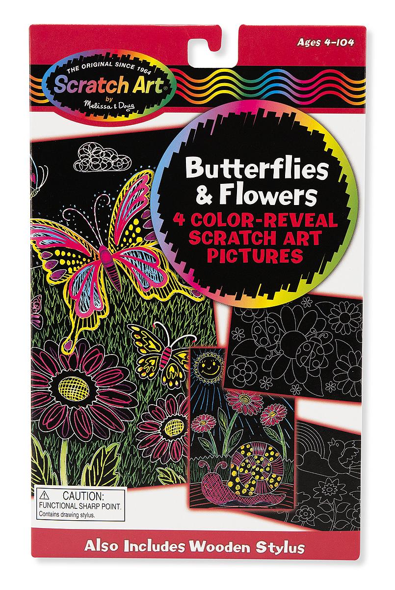 Набор для рисования «Scratch art. Цветы и бабочки»с различными эффектами<br>Набор для рисования «Scratch art. Цветы и бабочки»<br>
