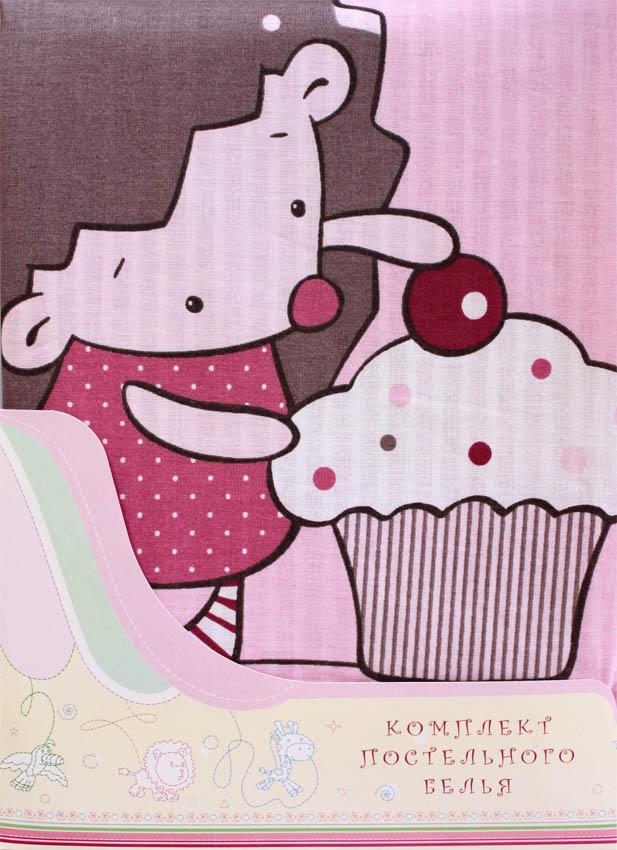 Постельное белье Ёжик Топа-Топ, 3 предмета, цвет – розовыйДетское постельное белье<br>Постельное белье Ёжик Топа-Топ, 3 предмета, цвет – розовый<br>
