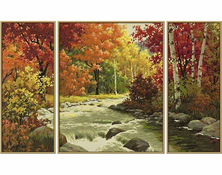 Раскраска по номерам – Триптих. Осенний поток, 50 х 80 см