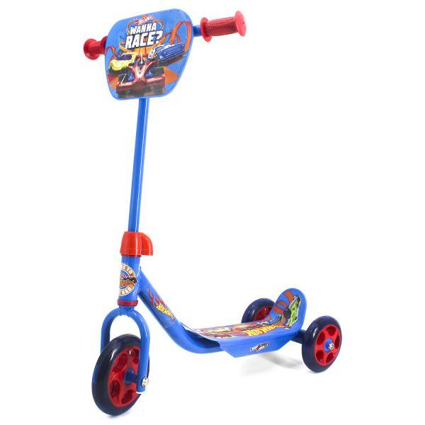 Трехколесный самокат – Hot Wheels, колеса 14,5 и 12 см, голубойТрехколесные самокаты<br>Трехколесный самокат – Hot Wheels, колеса 14,5 и 12 см, голубой<br>