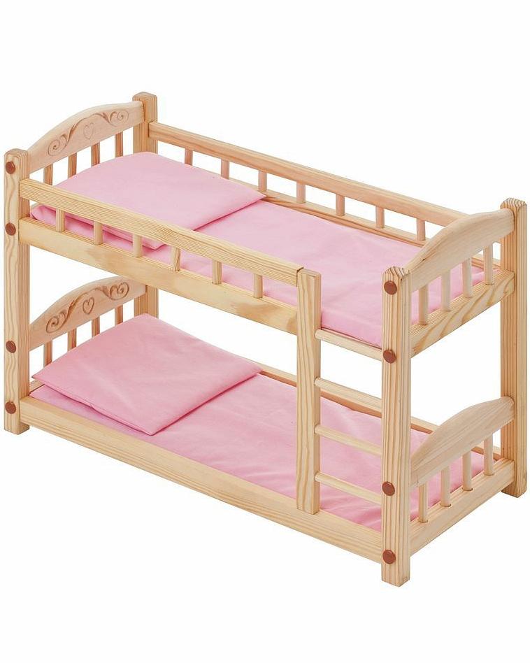 Двухъярусная кукольная кроватка из дерева с розовым текстилемДетские кроватки для кукол<br>Двухъярусная кукольная кроватка из дерева с розовым текстилем<br>