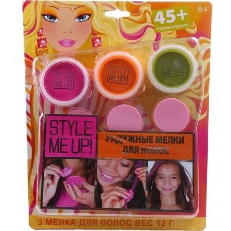 Радужные мелки для волос, 3 цвета: розовый, оранжевый, фисташковый - Юная модница, салон красоты, артикул: 175385