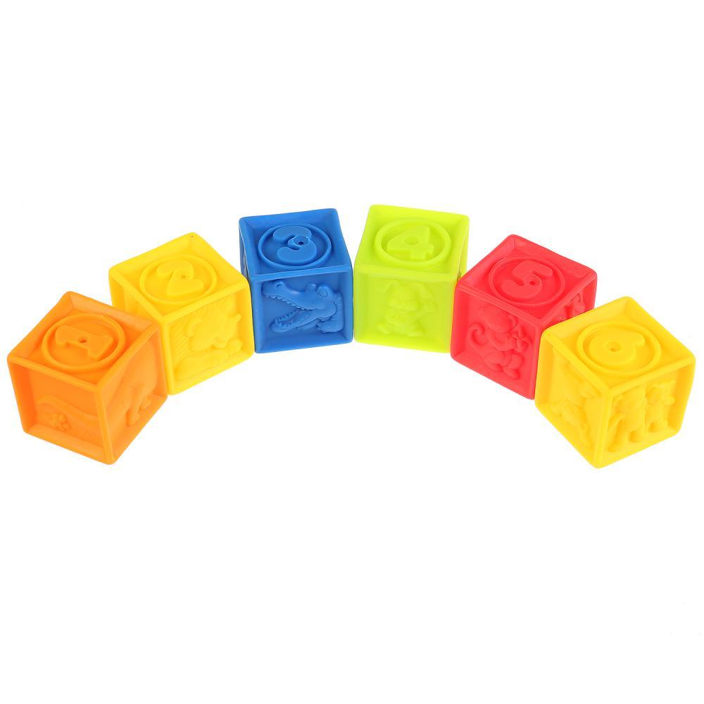 Купить Игрушки из пластизоля для купания - Кубики, 6 шт., в сетке, Играем вместе