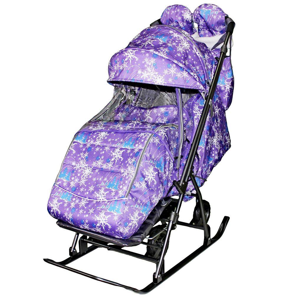 Санки-коляска Snow Galaxy Kids-3-1 - Елки на фиолетовом на больших колесах, сумка, варежки RT