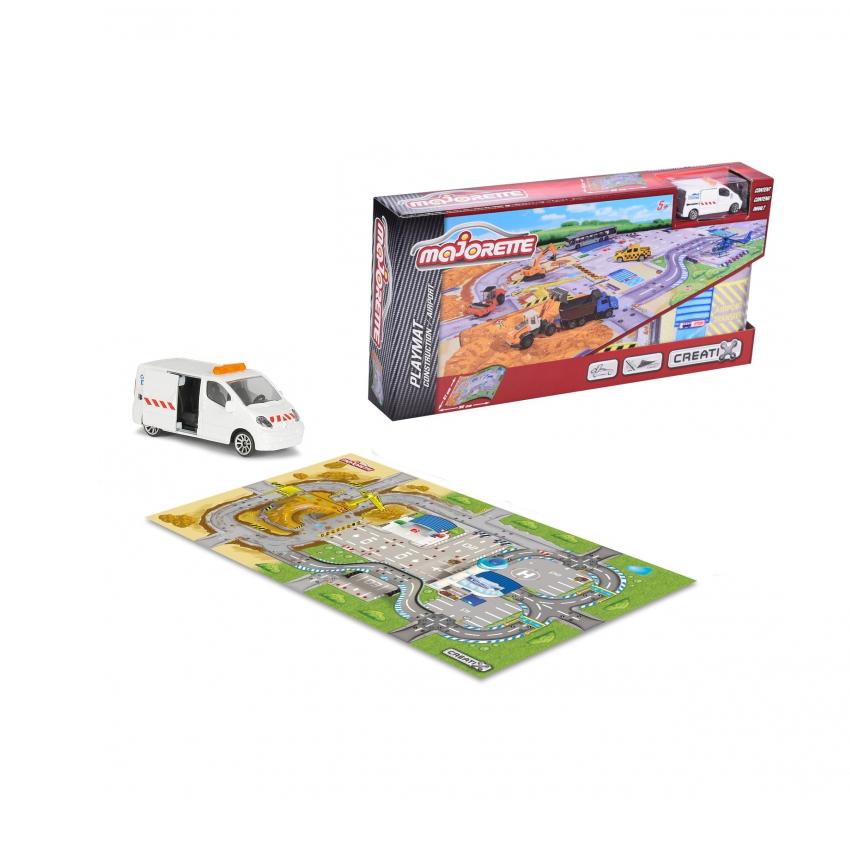 Игровой коврик и машинка из серии Creatix Construction, нескользящий, 96 х 51 см. - Детские парковки и гаражи, артикул: 163887