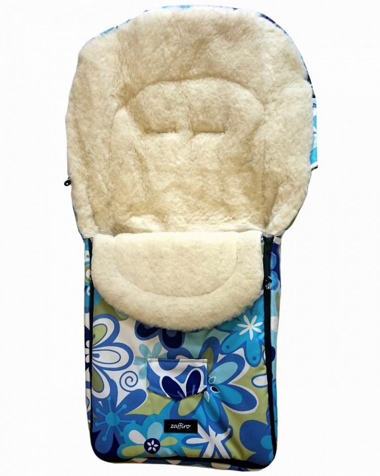 Спальный мешок в коляску №07 из серии North pole, дизайн – голубые цветы - Прогулки и путешествия, артикул: 171089