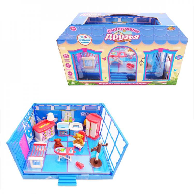 Купить Модульная комната из серии Счастливые друзья, в наборе с мебелью и фигурками животных, 13 предметов, ABtoys