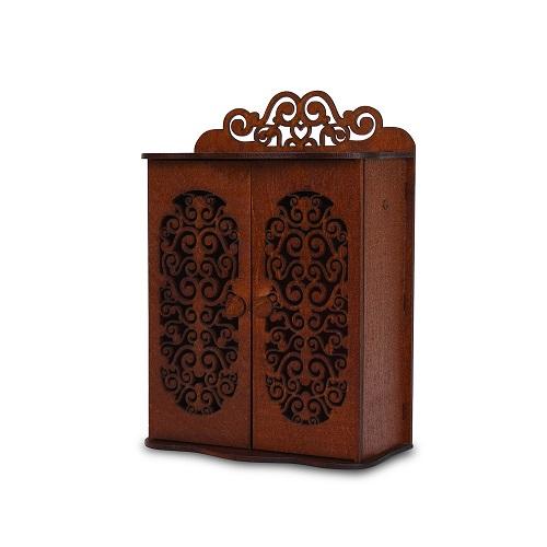 Набор Одним прекрасным утром – Шкаф для спальни с 2 дверцами и 3 вешалками, коричневыйКукольные домики<br>Набор Одним прекрасным утром – Шкаф для спальни с 2 дверцами и 3 вешалками, коричневый<br>