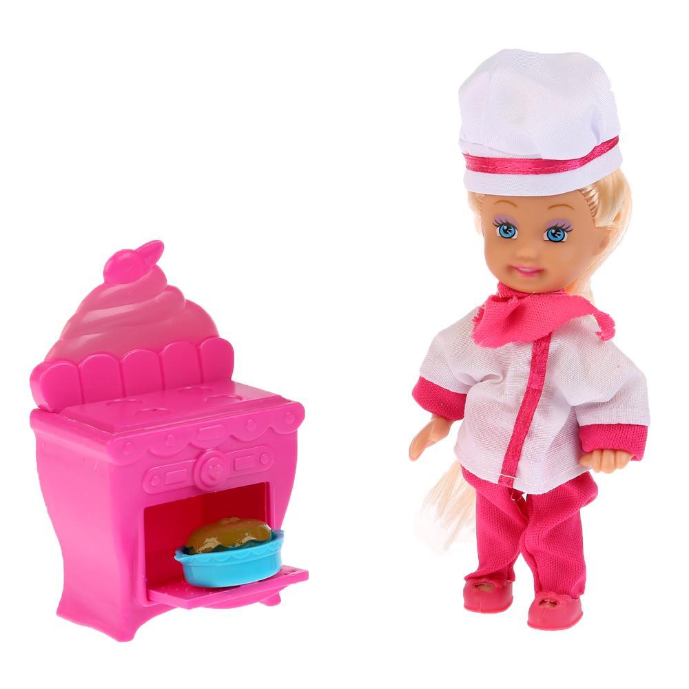 Купить Кукла Машенька 12 см., в наборе кухонная плита, костюм повара и аксессуары, Карапуз