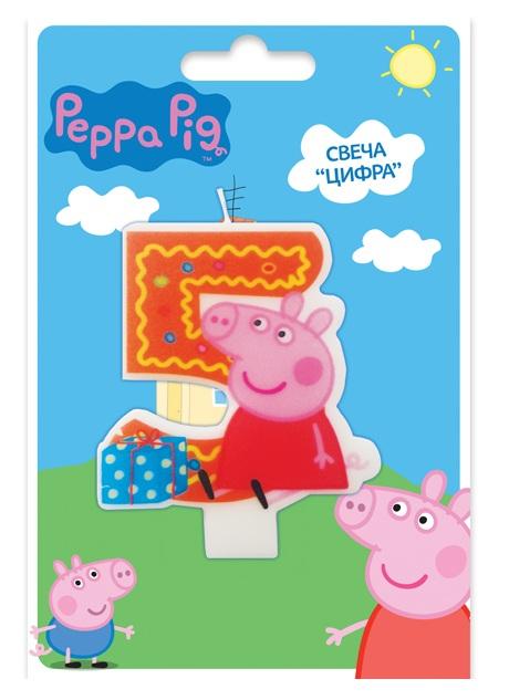 Свеча объемная 5 лет Peppa PigСвинка Пеппа (Peppa Pig )<br><br>