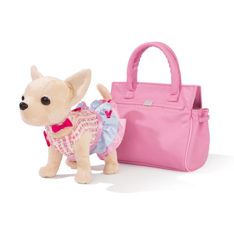 Плюшевая собачка Чихуахуа из серии Chi Chi Love в платье, в розовой сумочке, 20 см. - Chi Chi Love - cобачки в сумочке, артикул: 152285